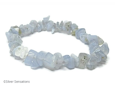Blue Lace Agate Smooth Chips Beaded Stretch Bracelet